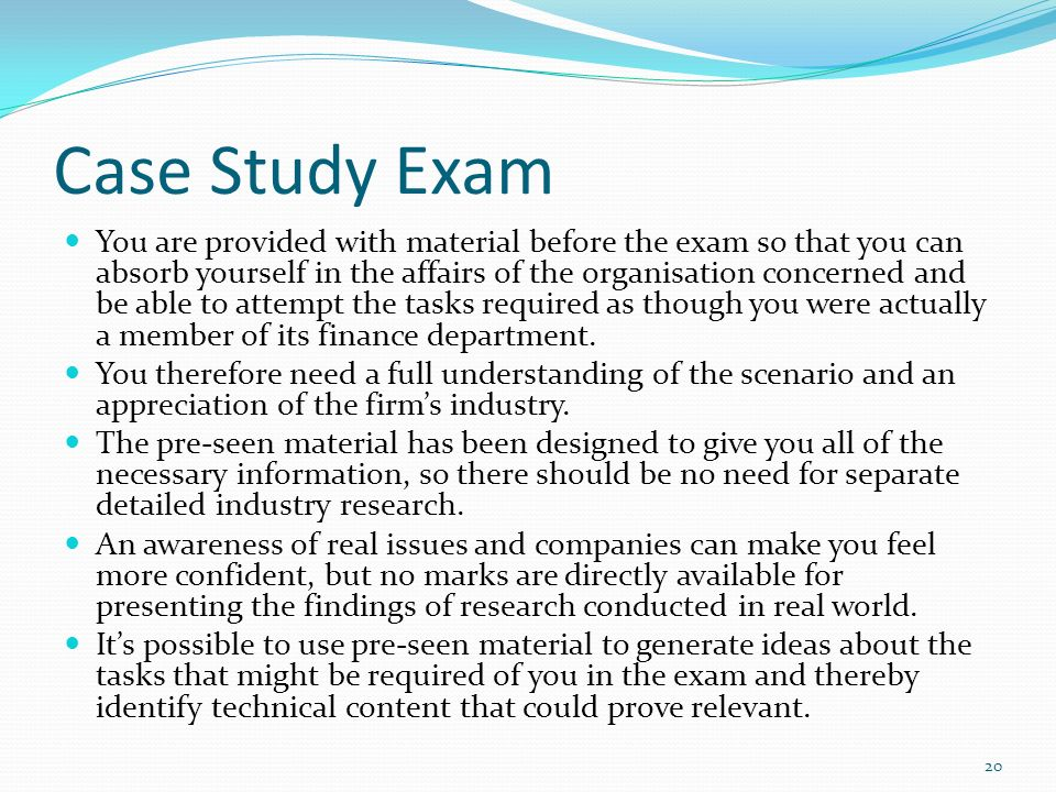 exam focus the pre seen case In mathematics, a brief exam can only sample a few of the many topics that teachers are expected to cover in the course of a year43 after the first few years of an exam's use, teachers can anticipate which of these topics are more likely to appear, and focus their instruction on these likely-to-be-tested topics, to be learned in the format .