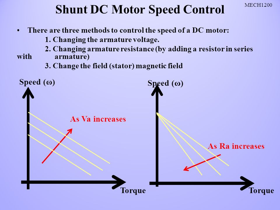 speed control of dc shunt motor A dc motor is any of a class of rotary electrical machines that converts direct  current electrical  a dc motor's speed can be controlled over a wide range,  using either a variable supply  there are three types of electrical connections  between the stator and rotor possible for dc electric motors: series, shunt/parallel  and.