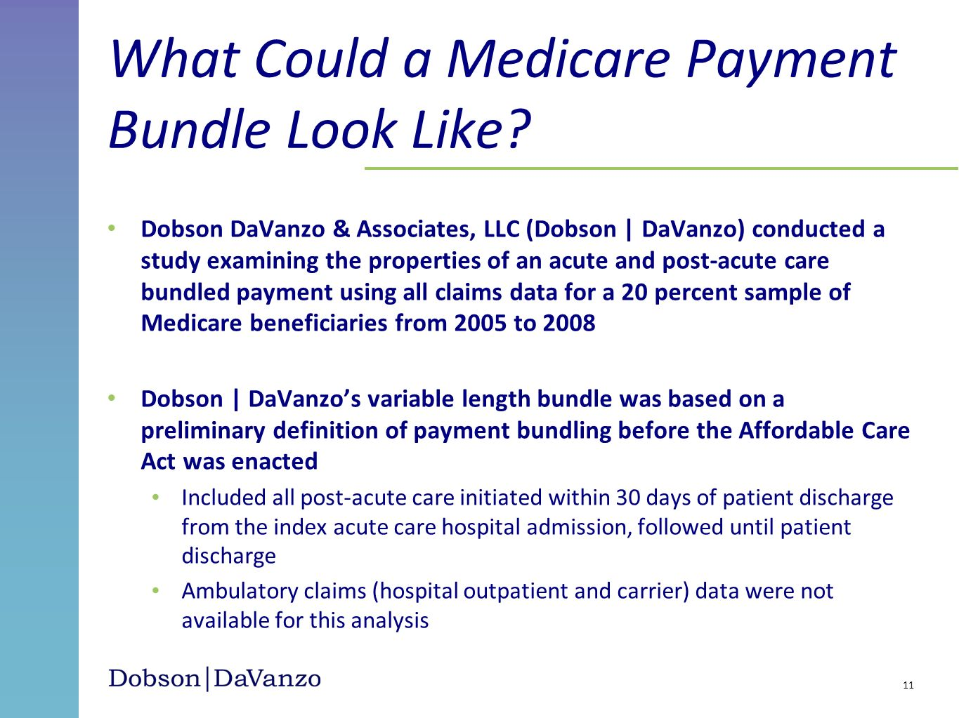 What Could a Medicare Payment Bundle Look Like