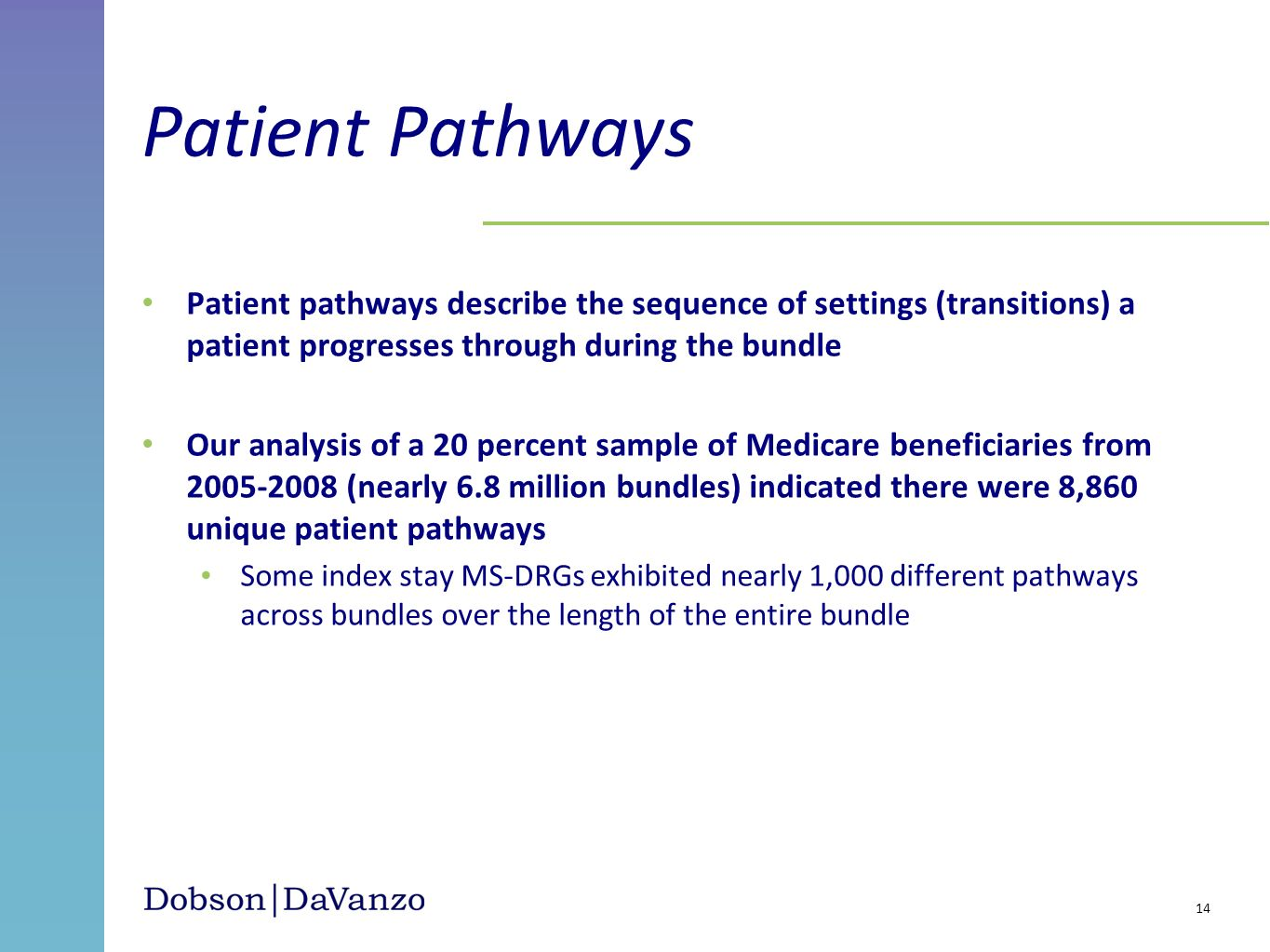 Patient Pathways Patient pathways describe the sequence of settings (transitions) a patient progresses through during the bundle.