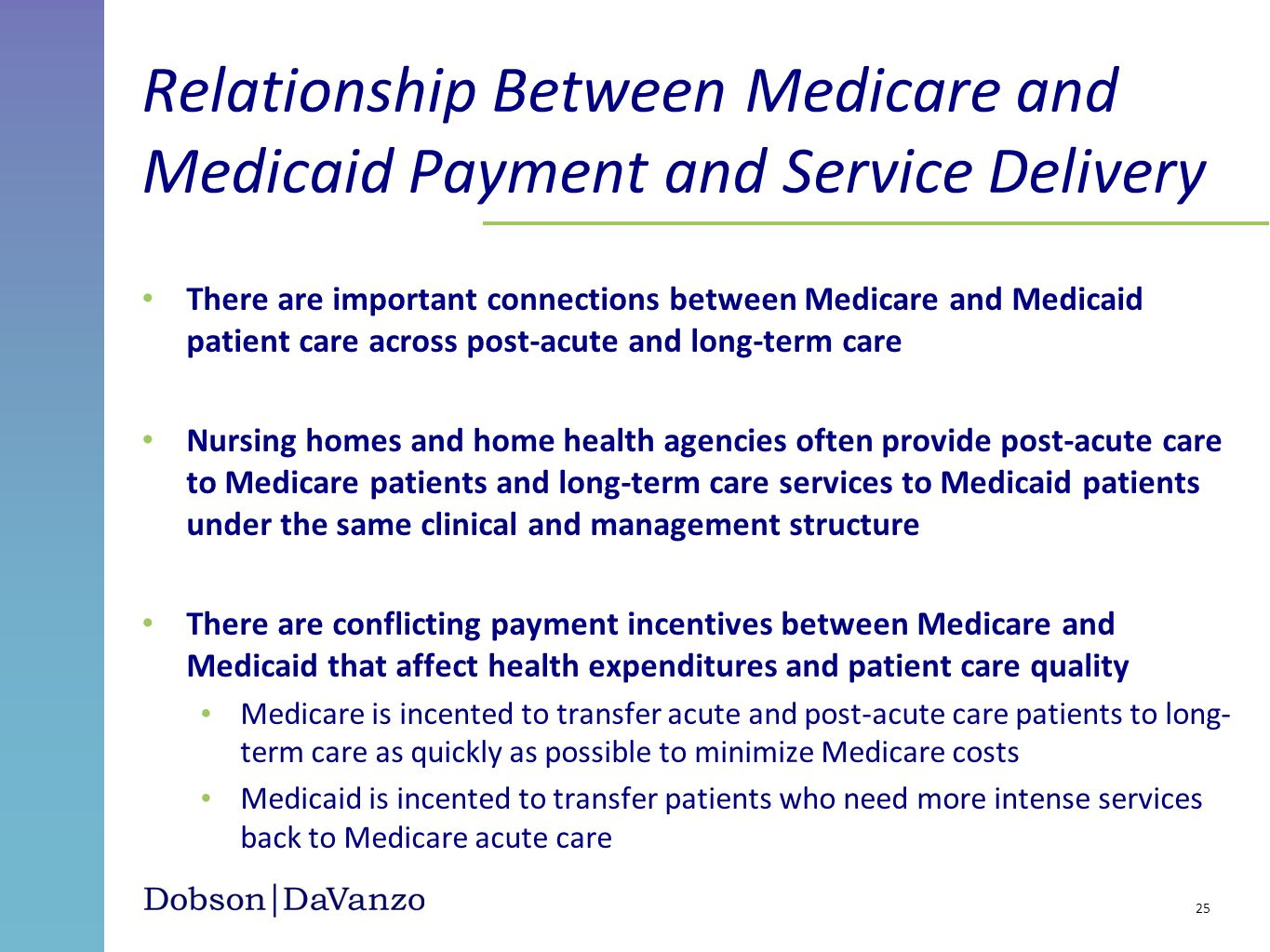 Relationship Between Medicare and Medicaid Payment and Service Delivery