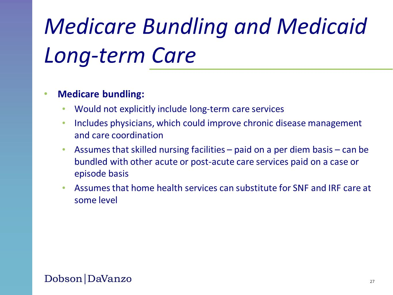 Medicare Bundling and Medicaid Long-term Care