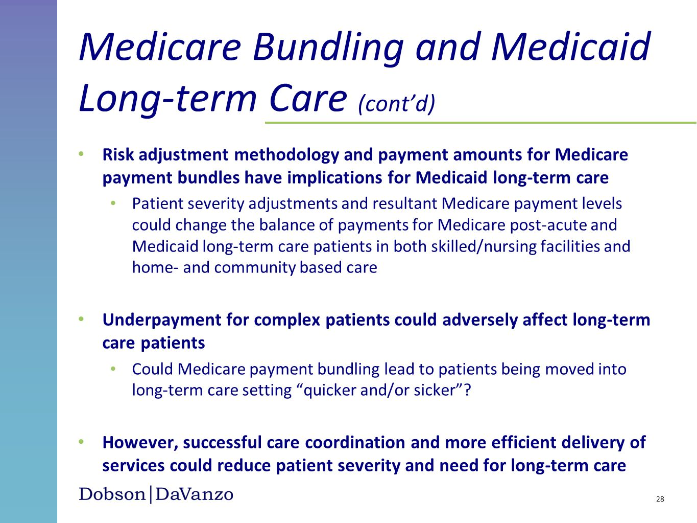 Medicare Bundling and Medicaid Long-term Care (cont'd)