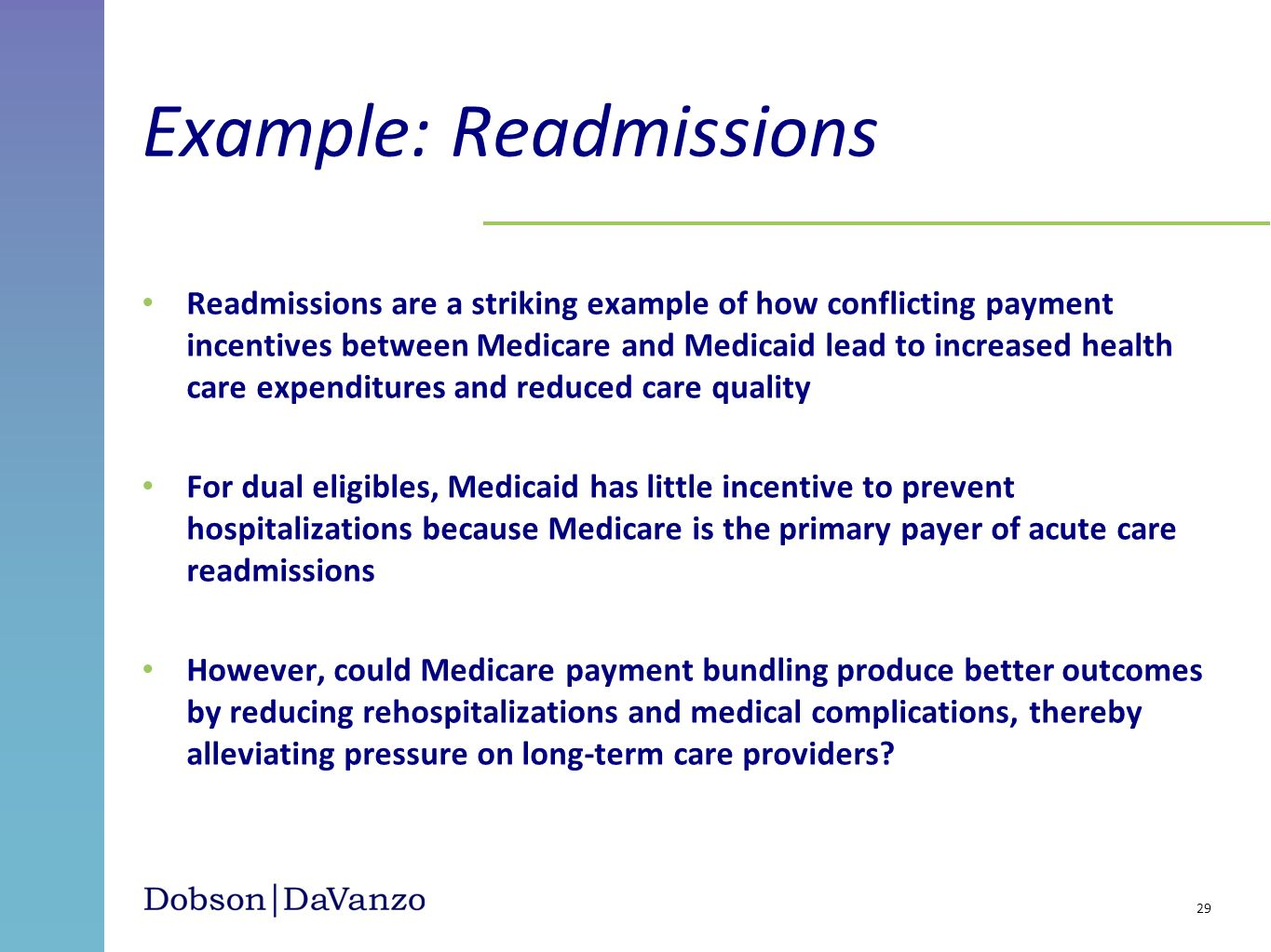 Example: Readmissions