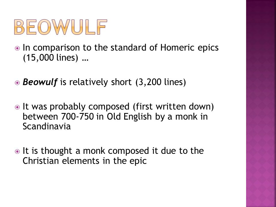 symbolical elements in the epic poem beowulf The once and future hero: understanding the hero in  fuses elements of the epic and the  like beowulf and sigurd create a highly symbolical identity.