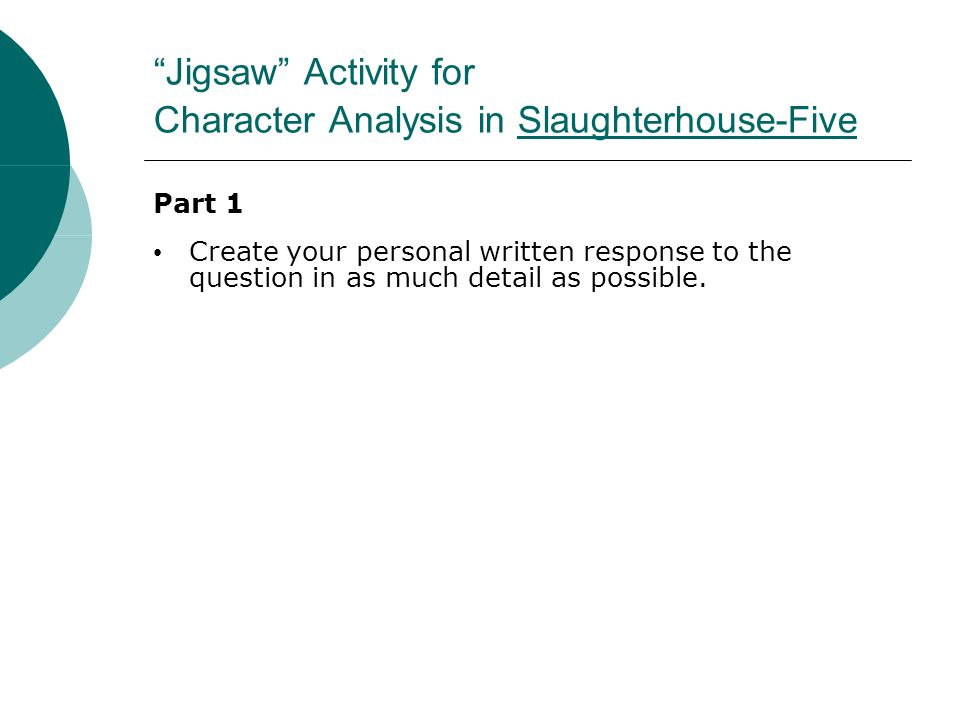 character analysis essayof slaughterhouse five Included: life essay slaughterhouse five essay death essay content preview text: there are events in an individual's life when they have to accept something just for.