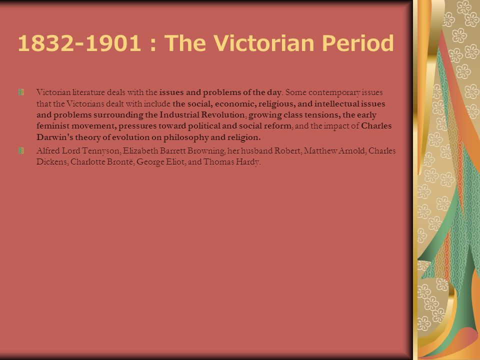 an analysis of the victorian literature 1832 1901 Literary analysis is not typically in the curriculum for accounting majors  i know  and love the best, the victorian period (england, 1832-1901.