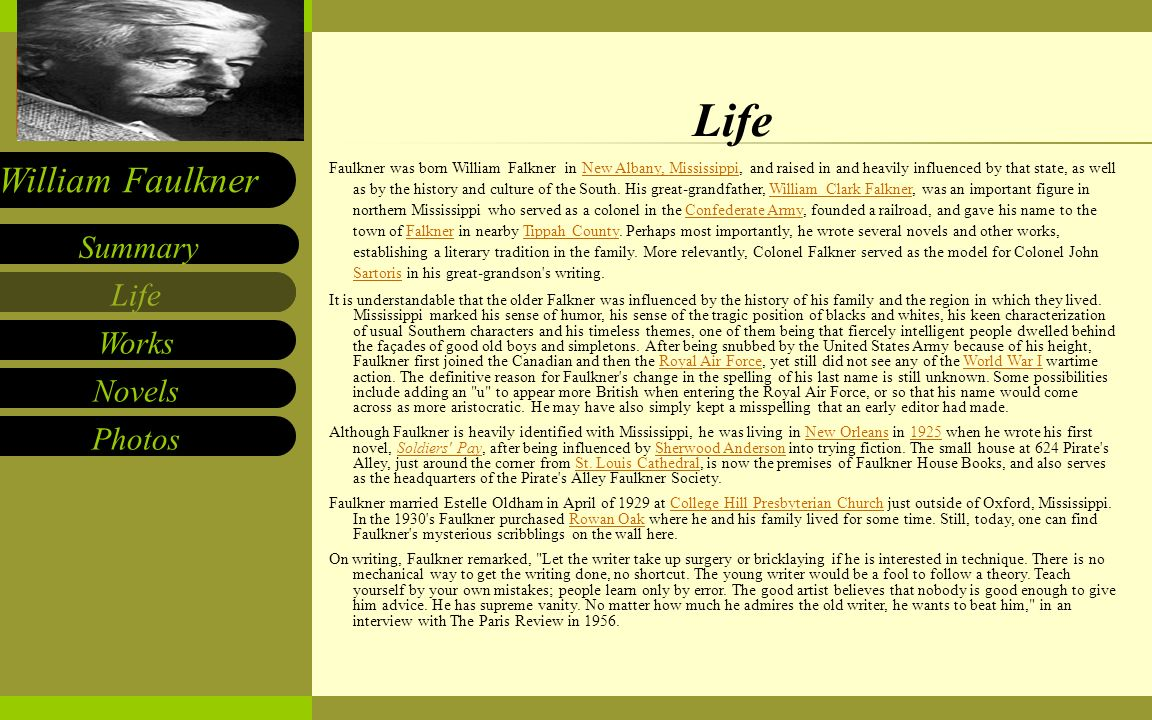 a biography of william faulkner and his writing career Biography william faulkner was born in 1897 in new he vowed to support her and the two kids she brought with her on his writing education and career roadmap.