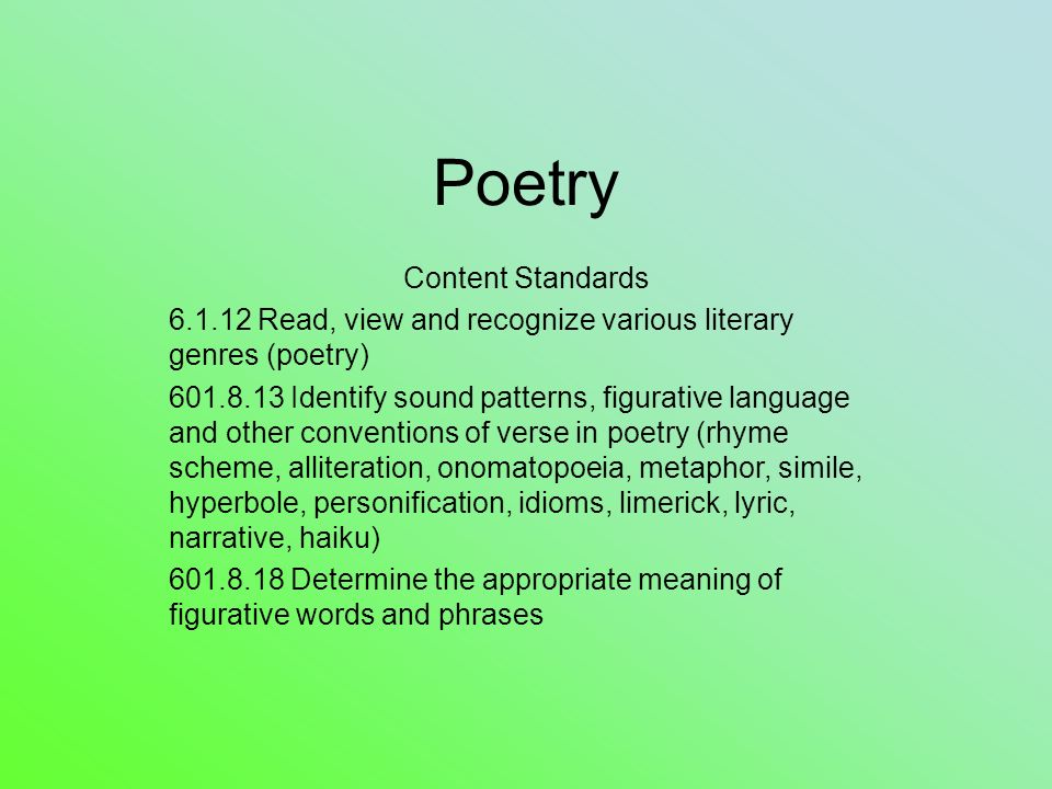 Poetry Content Standards Ppt Video Online Download