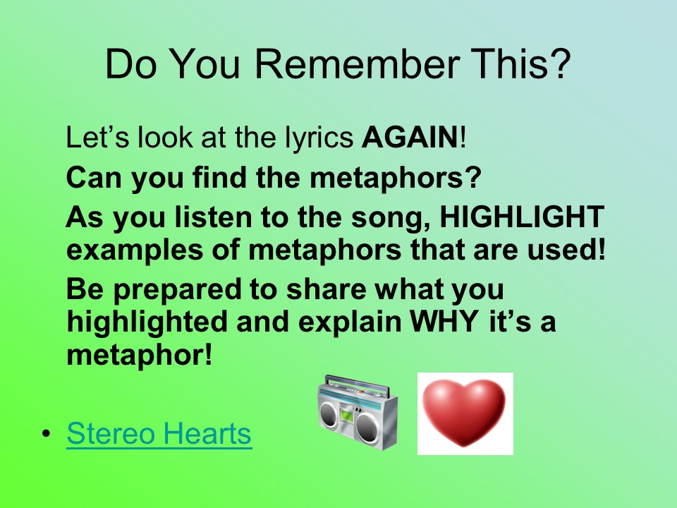 Metaphor Examples In Songs Lyrics Image Collections Example Cover