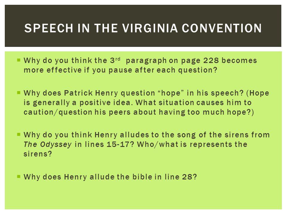 speech to virginia convention summary