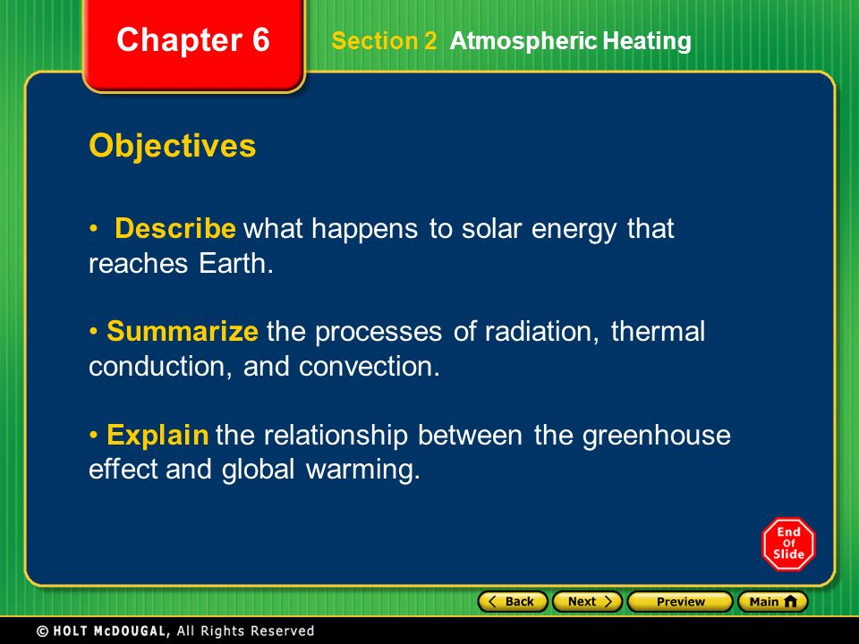 Objectives Describe what happens to solar energy that reaches Earth.