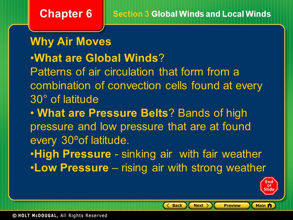 High Pressure - sinking air with fair weather