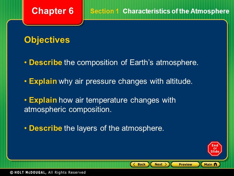 Objectives Describe the composition of Earth's atmosphere.