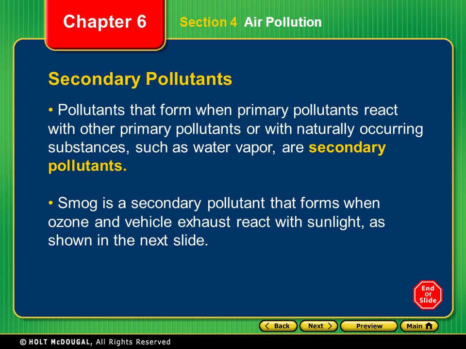 Section 4 Air Pollution Secondary Pollutants.