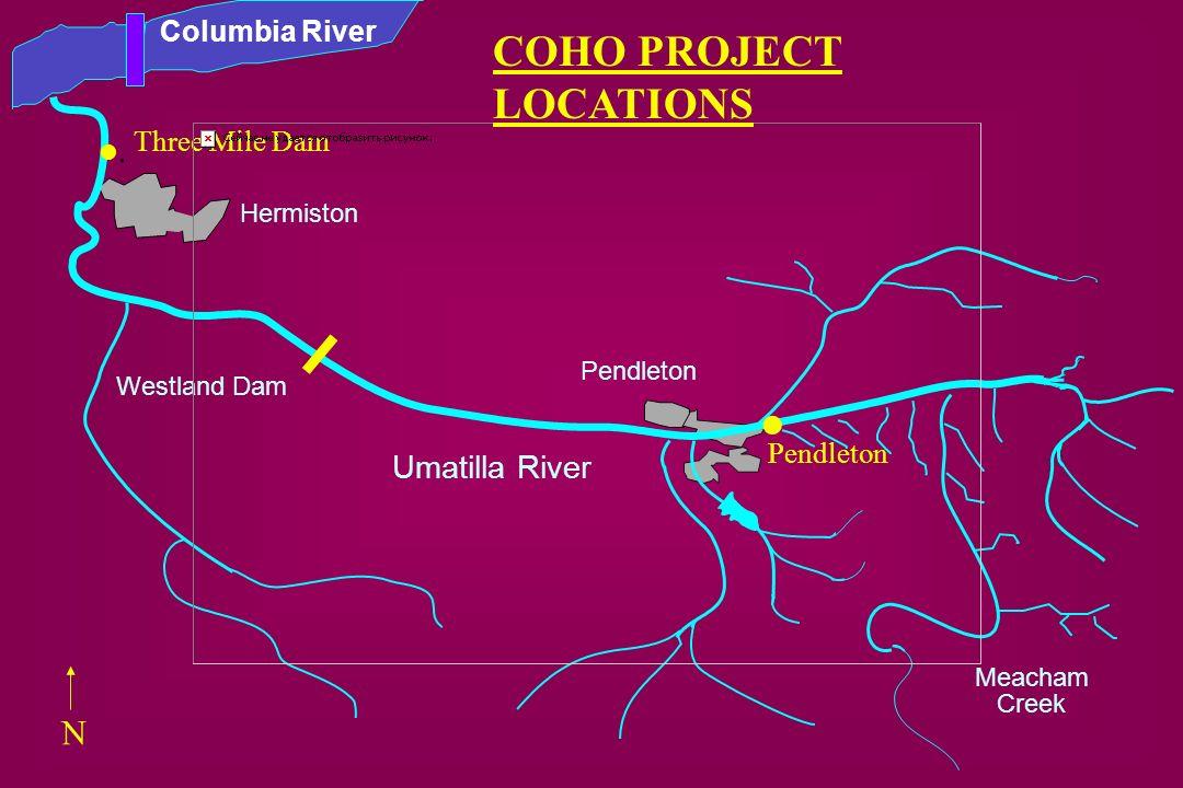 . COHO PROJECT LOCATIONS . N Umatilla River Columbia River
