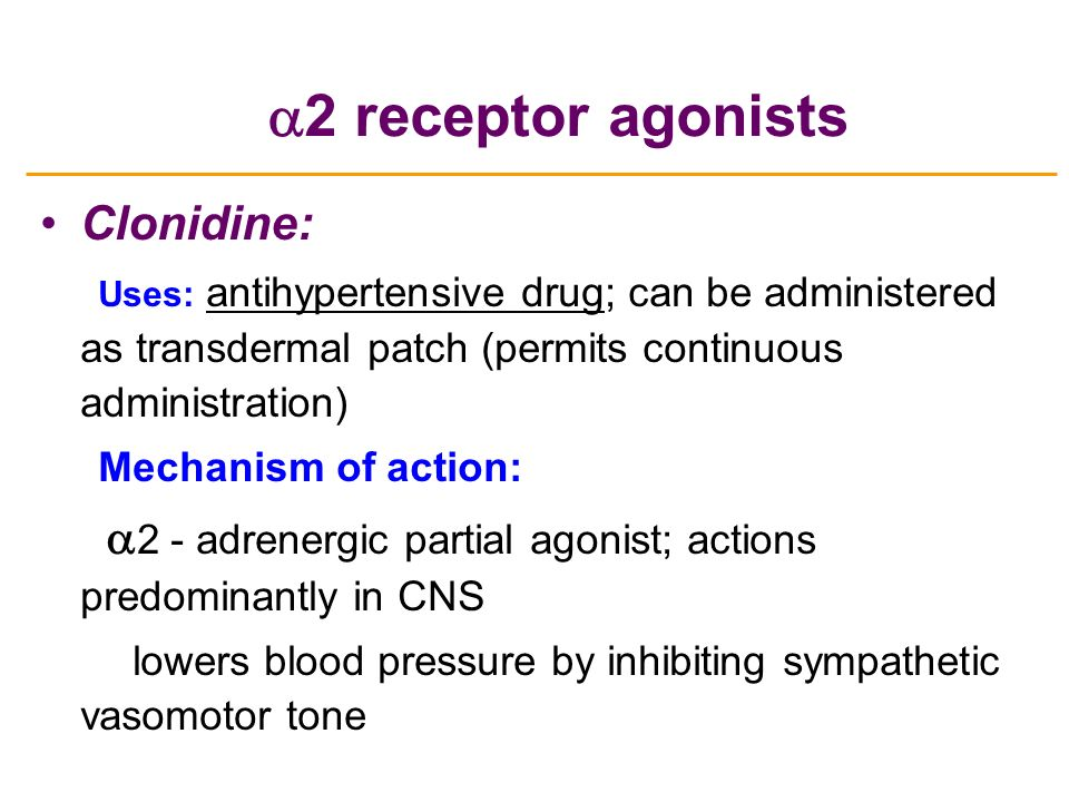 Catapres Drug Action