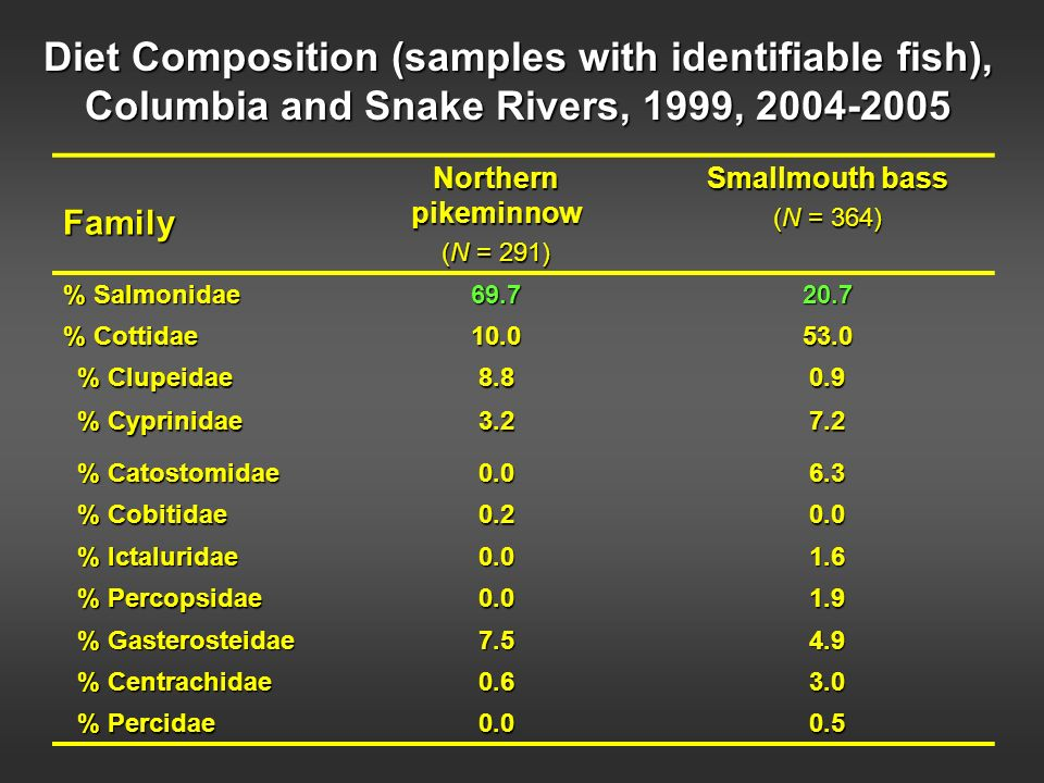 Diet Composition (samples with identifiable fish),