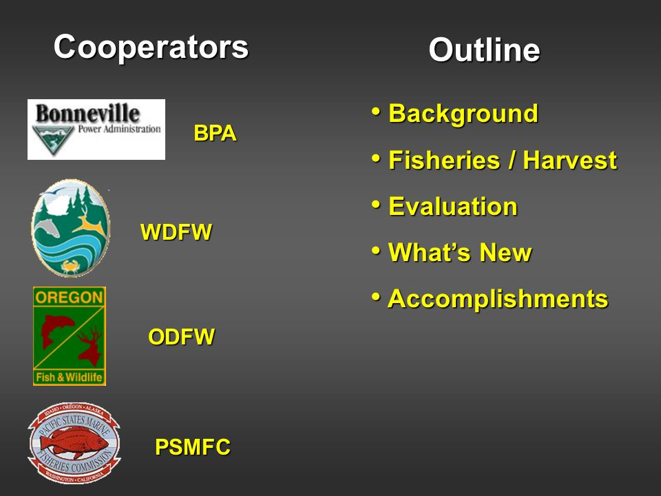 Cooperators Outline Background Fisheries / Harvest Evaluation