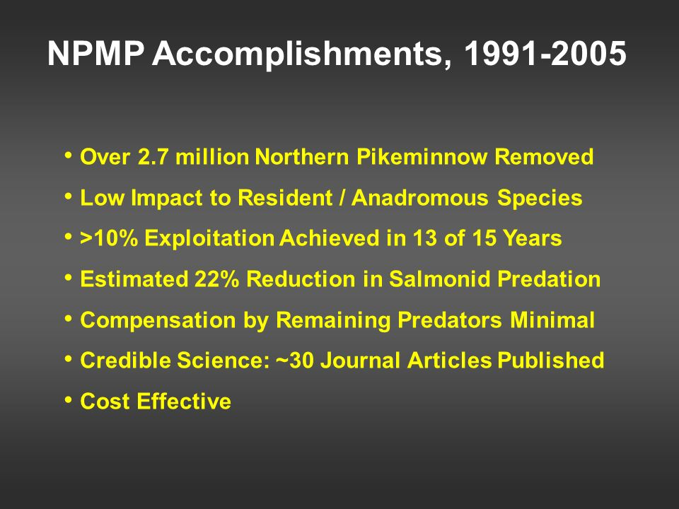 NPMP Accomplishments, 1991-2005