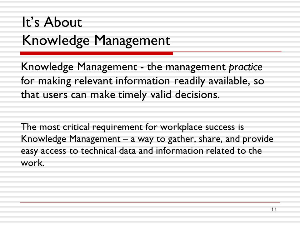 It's About Knowledge Management