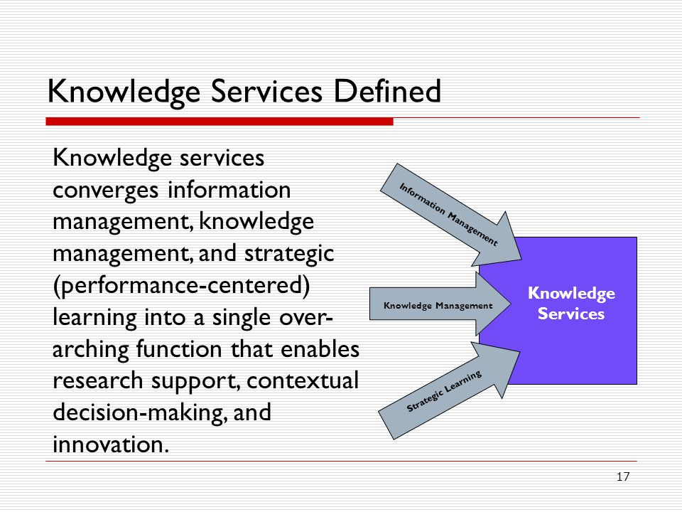 Knowledge Services Defined