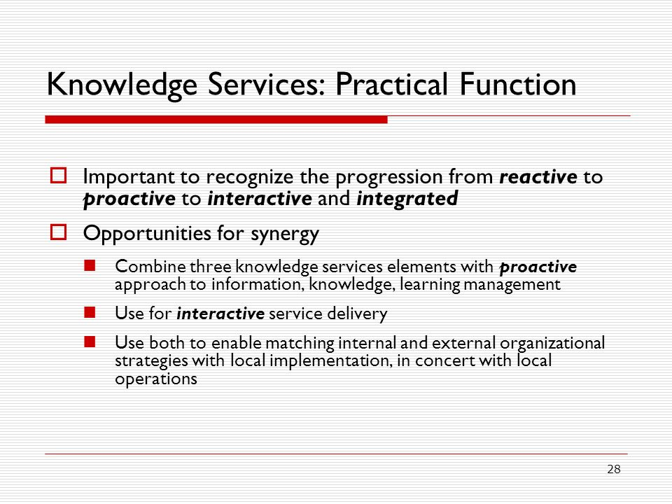 Knowledge Services: Practical Function