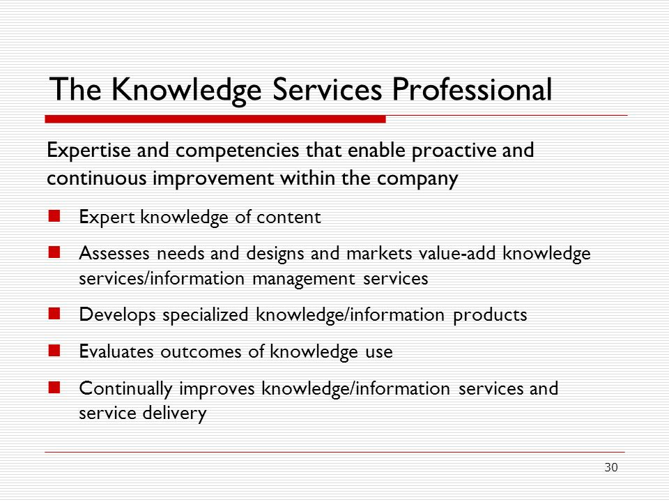 The Knowledge Services Professional