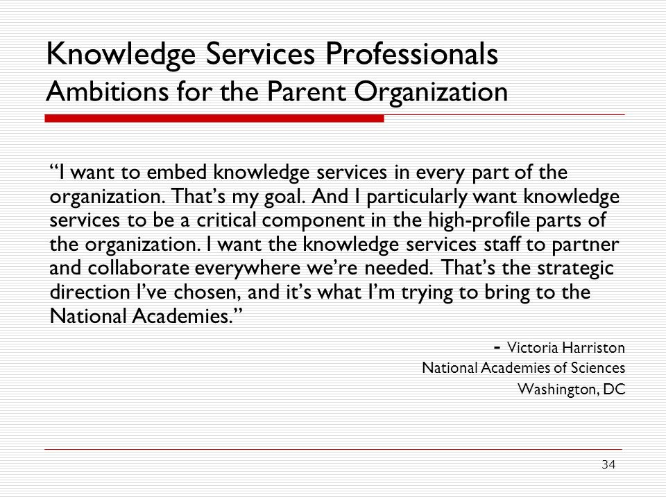 Knowledge Services Professionals Ambitions for the Parent Organization