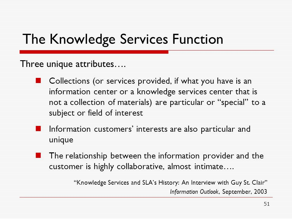 The Knowledge Services Function