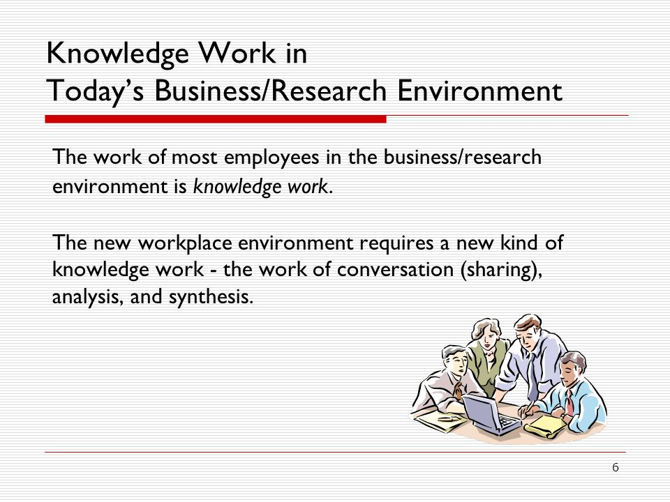 Knowledge Work in Today's Business/Research Environment