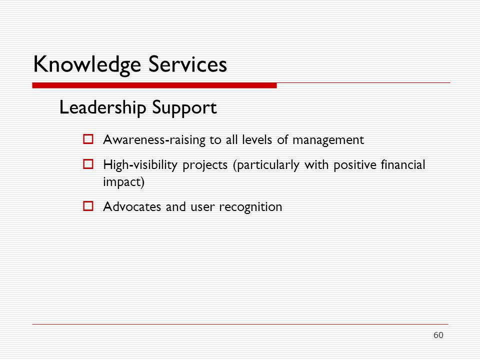 Knowledge Services Leadership Support