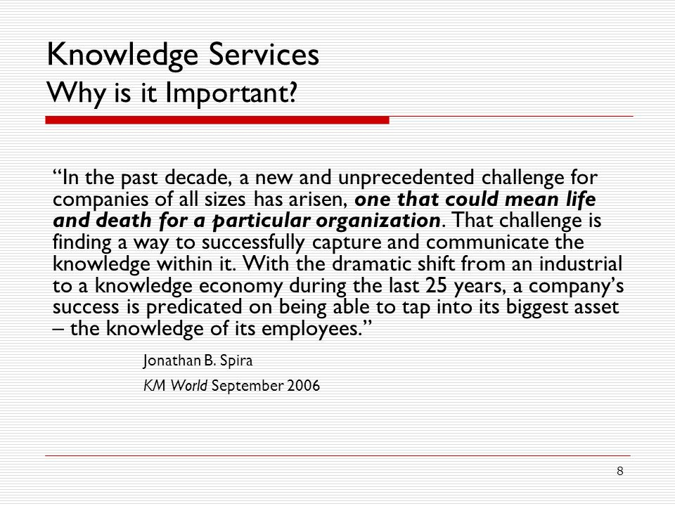 Knowledge Services Why is it Important