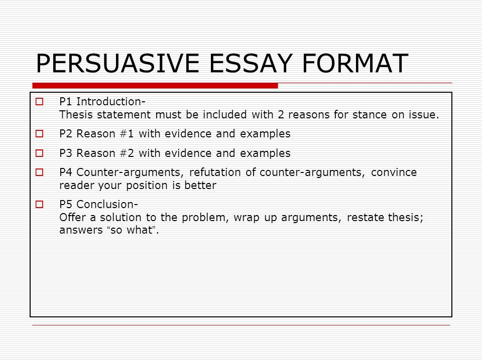 persausive essay format Persuasive essays try to prove a claim, or argue for a point of view as a college writing instructor for 20 years, and a public educator for 10 years previous to that, i've read many excellent persuasive essay samples.