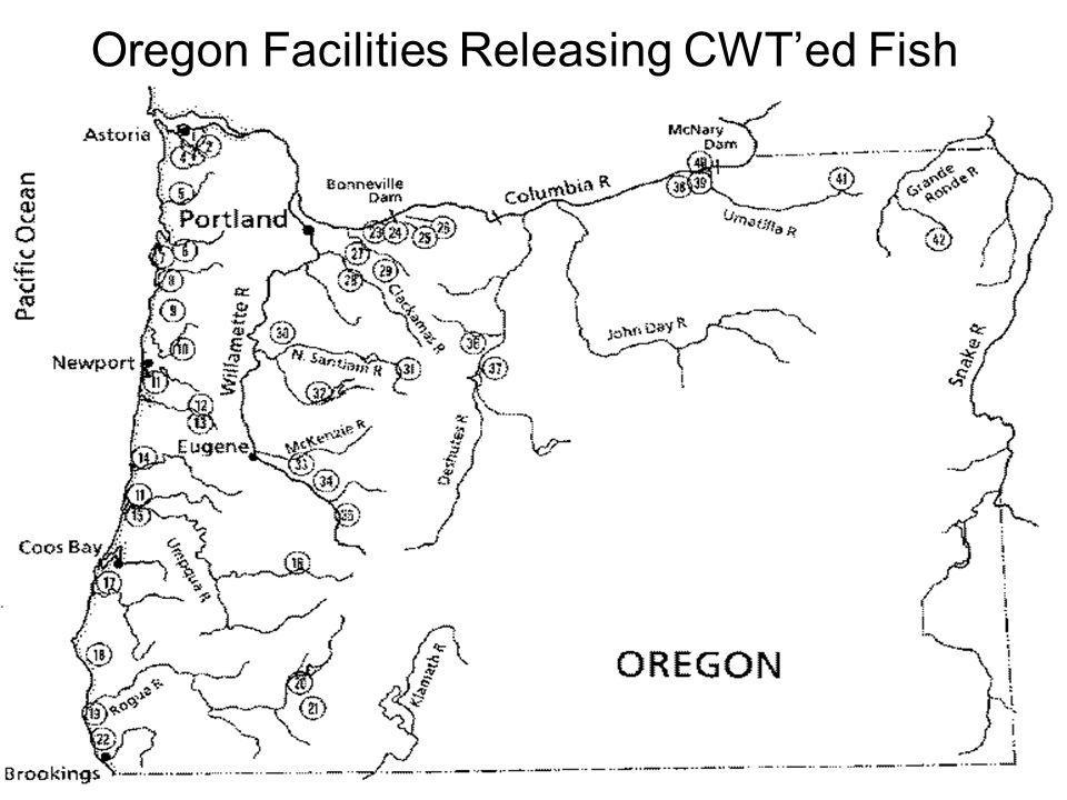 Oregon Facilities Releasing CWT'ed Fish