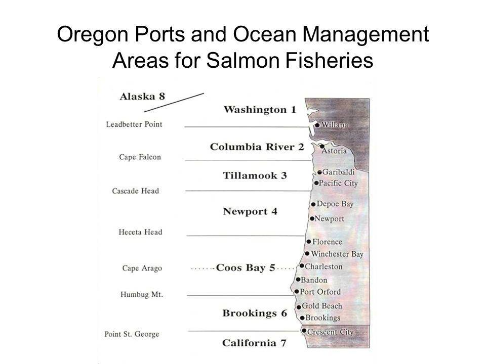 Oregon Ports and Ocean Management Areas for Salmon Fisheries