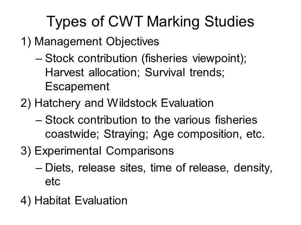 Types of CWT Marking Studies