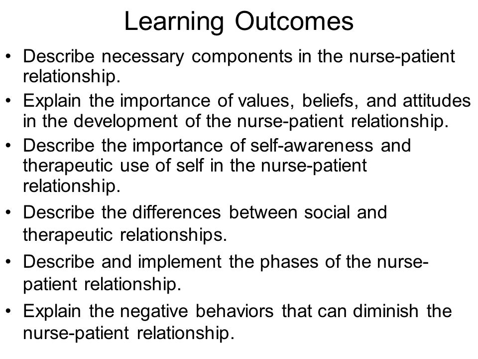 nurse patient therapeutic relationship stages