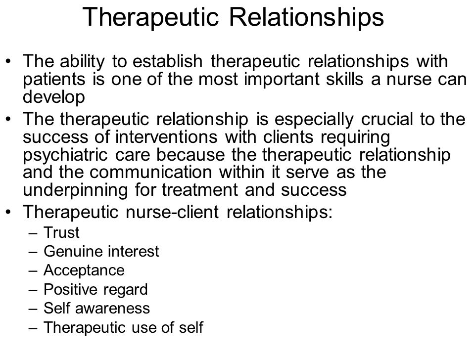 therapeutic relationships in nursing essay The therapeutic nurse client relationship nursing essay introduction mencap (2004) cited in blair (2011) state that people with intellectual disabilities (id) are.