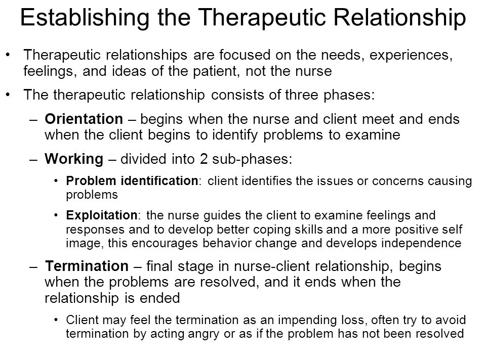 stages of a therapeutic relationship