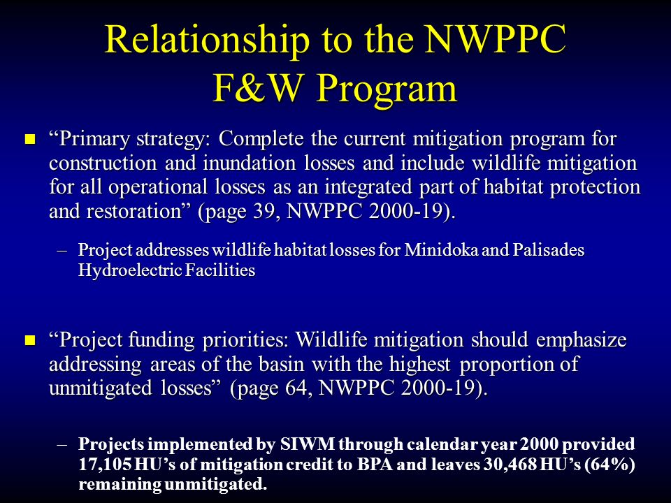 Relationship to the NWPPC F&W Program