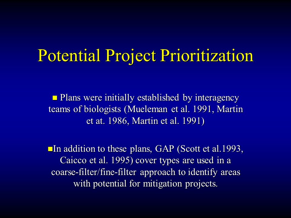 Potential Project Prioritization