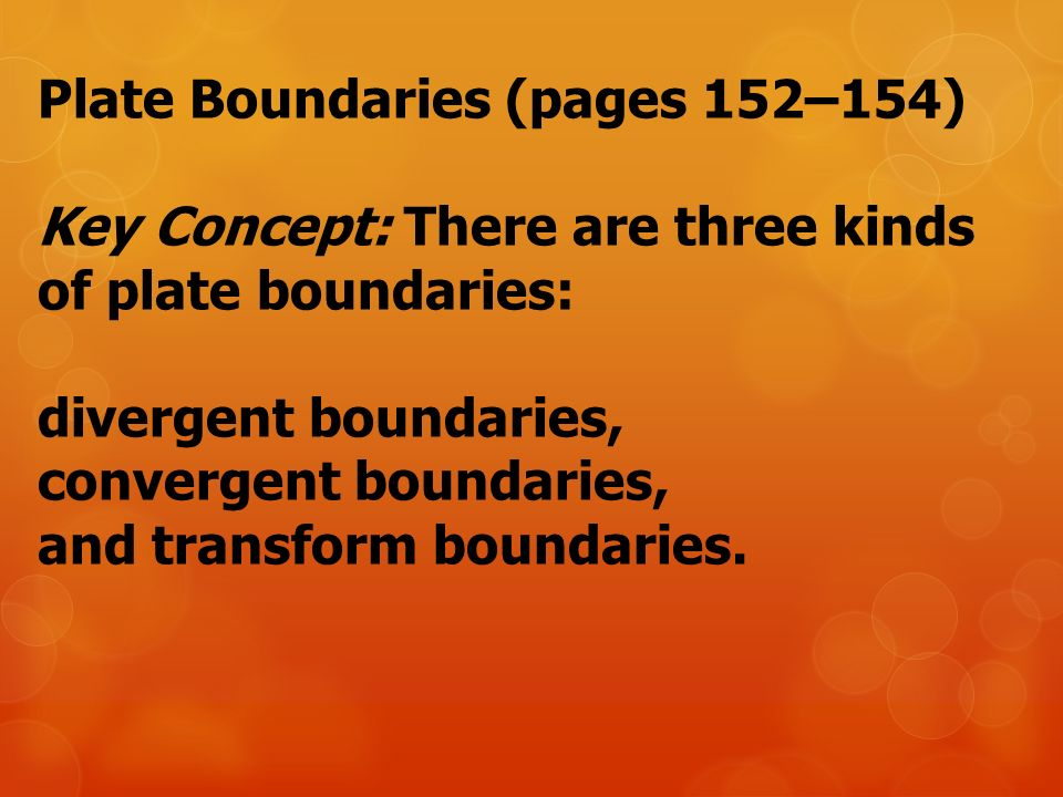 Plate Boundaries (pages 152–154)
