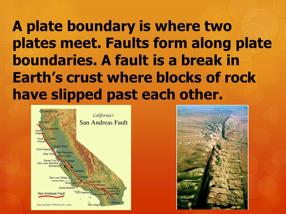 A plate boundary is where two plates meet