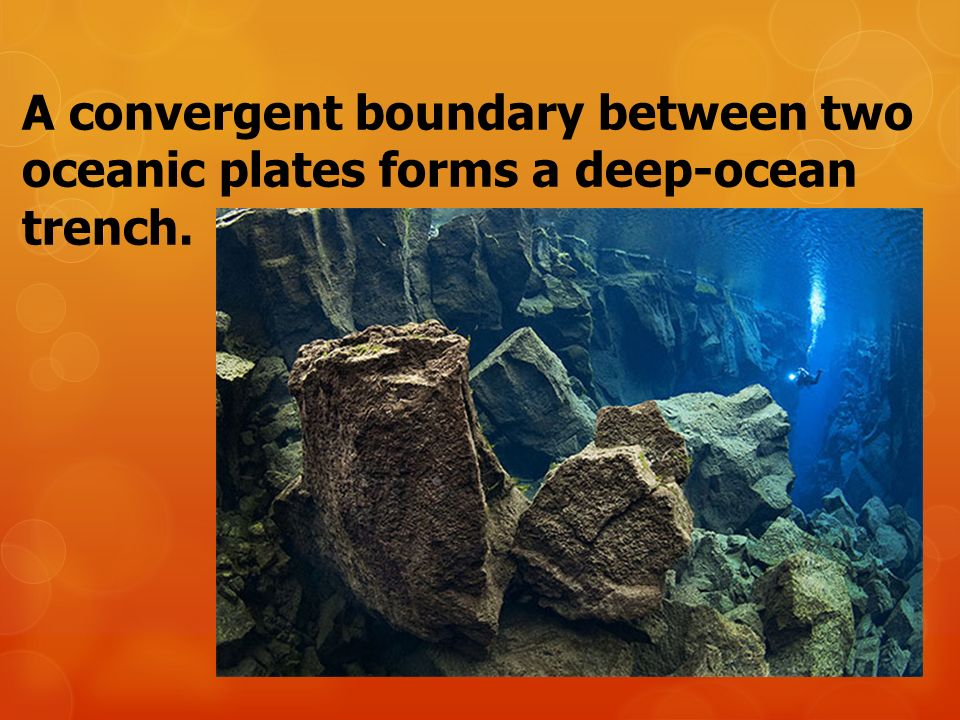 A convergent boundary between two oceanic plates forms a deep-ocean trench.