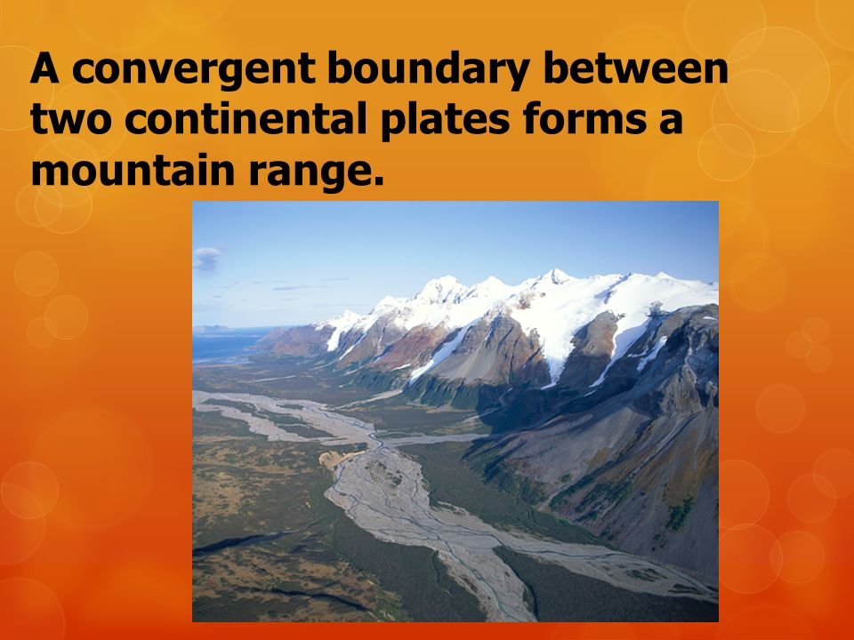 A convergent boundary between two continental plates forms a mountain range.