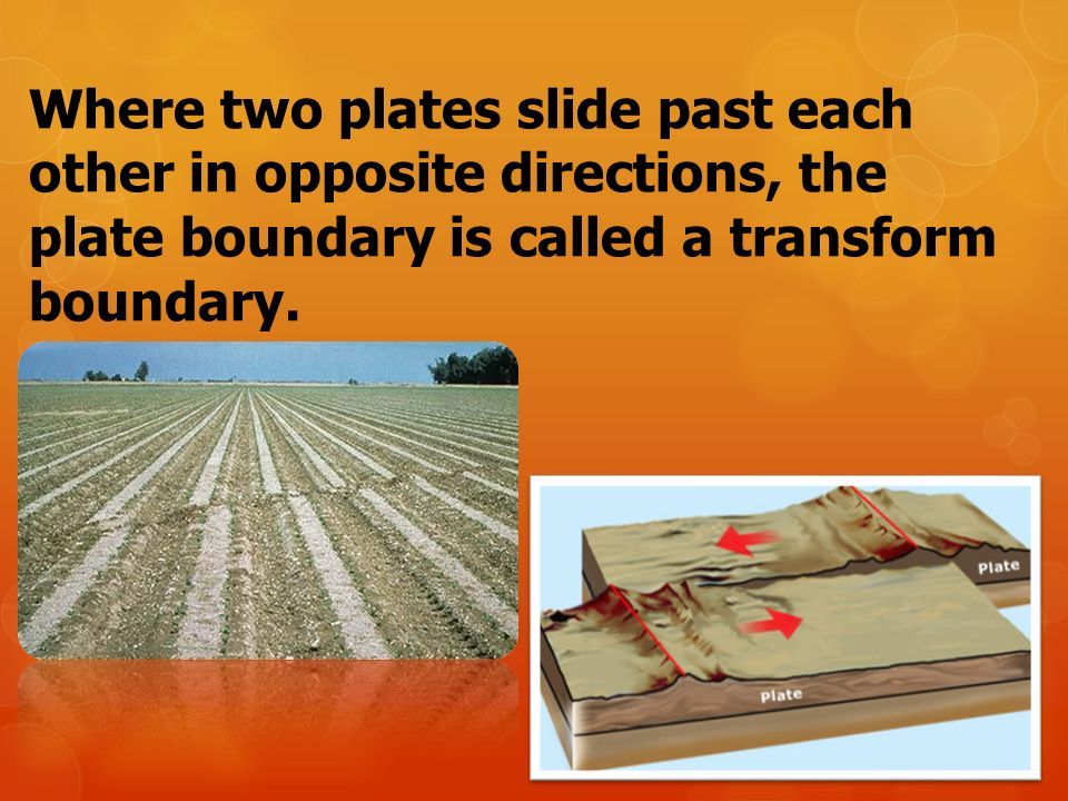 Where two plates slide past each other in opposite directions, the plate boundary is called a transform boundary.