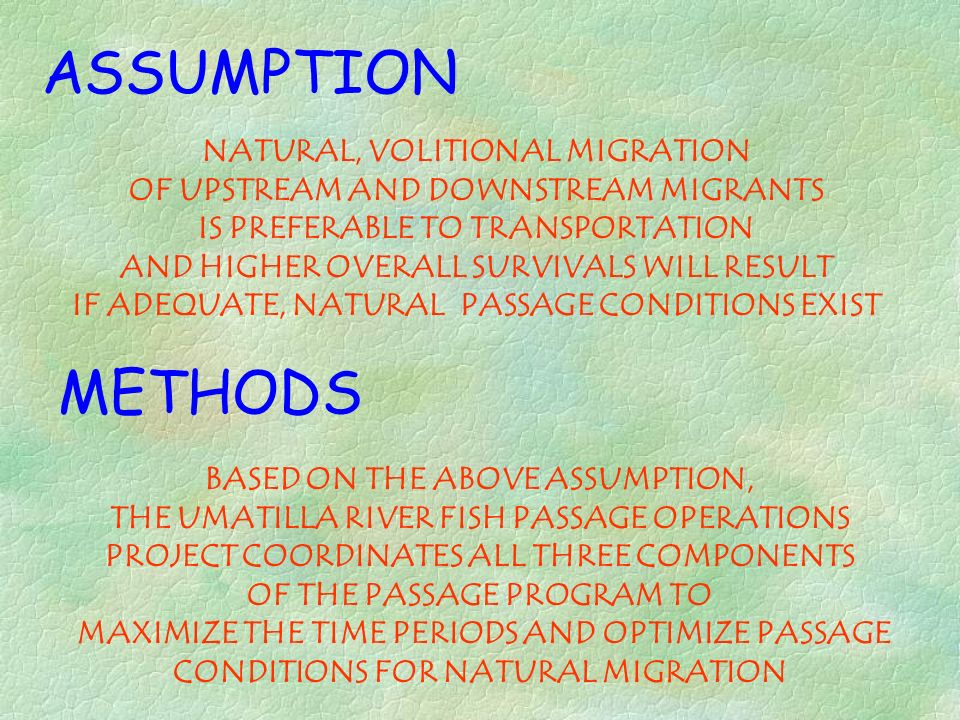ASSUMPTION METHODS NATURAL, VOLITIONAL MIGRATION