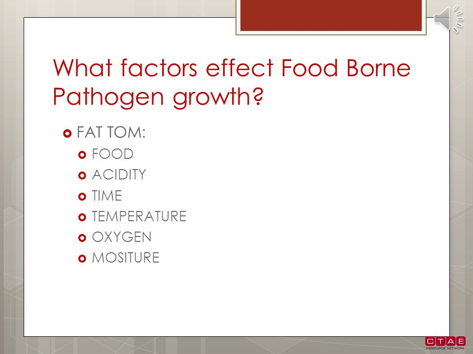 What factors effect Food Borne Pathogen growth