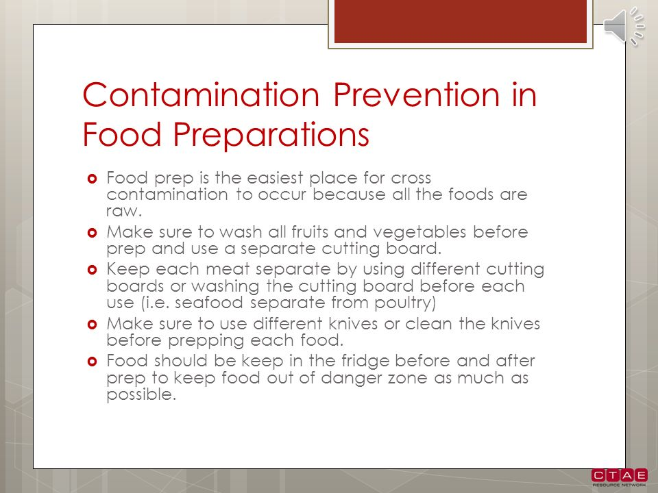 Contamination Prevention in Food Preparations